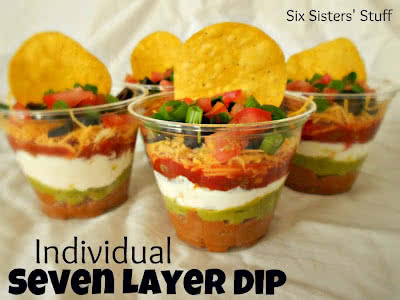 seven layer dip in individual serving cups