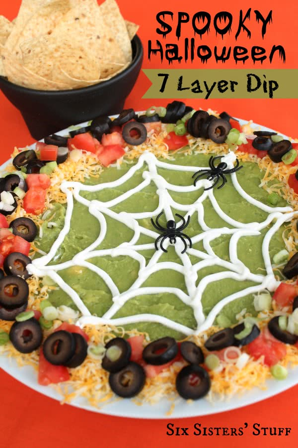 spooky halloween 7 layer dip takes a halloween twist on the original 7 layer dip it requires just a few ingredients and is the perfect dip to bring to any