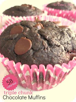 Low Calorie Triple Chocolate Chunk Muffins Recipe