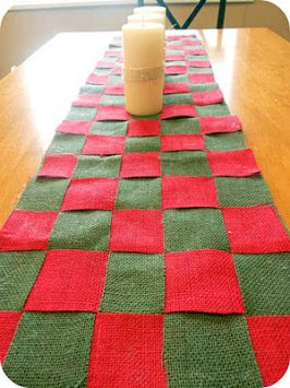 Christmas Burlap Checkered Table Runner Tutorial