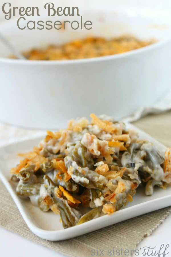 Green Bean Casserole with French Onions on plate