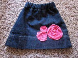 Old Jeans Pant Leg to Skirt Repurpose