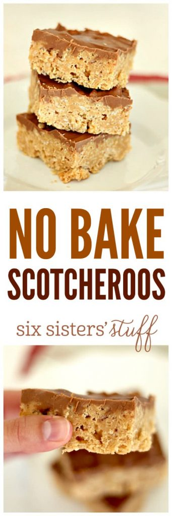 No Bake Scotcheroos Bars on SixSistersStuff
