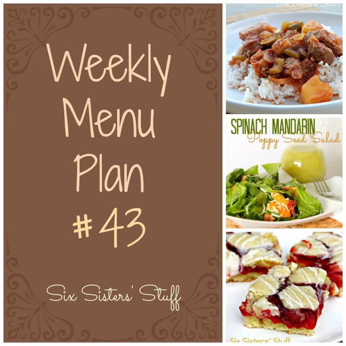 Six Sisters' Weekly Menu Plan #43