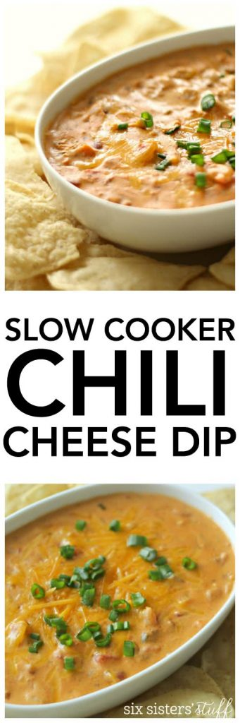 Slow Cooker Chili Cheese Dip - SixSistersStuff