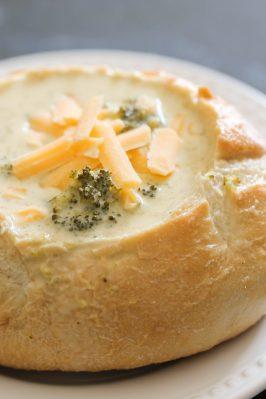 Prepared 3 cheese broccoli soup in bread bowl