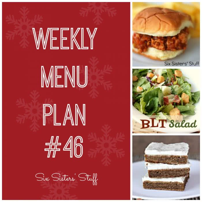 Six Sisters' Weekly Menu Plan #46