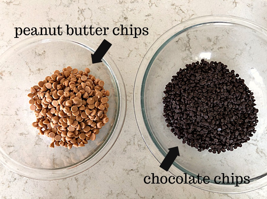 Peanut butter chips and chocolate chips