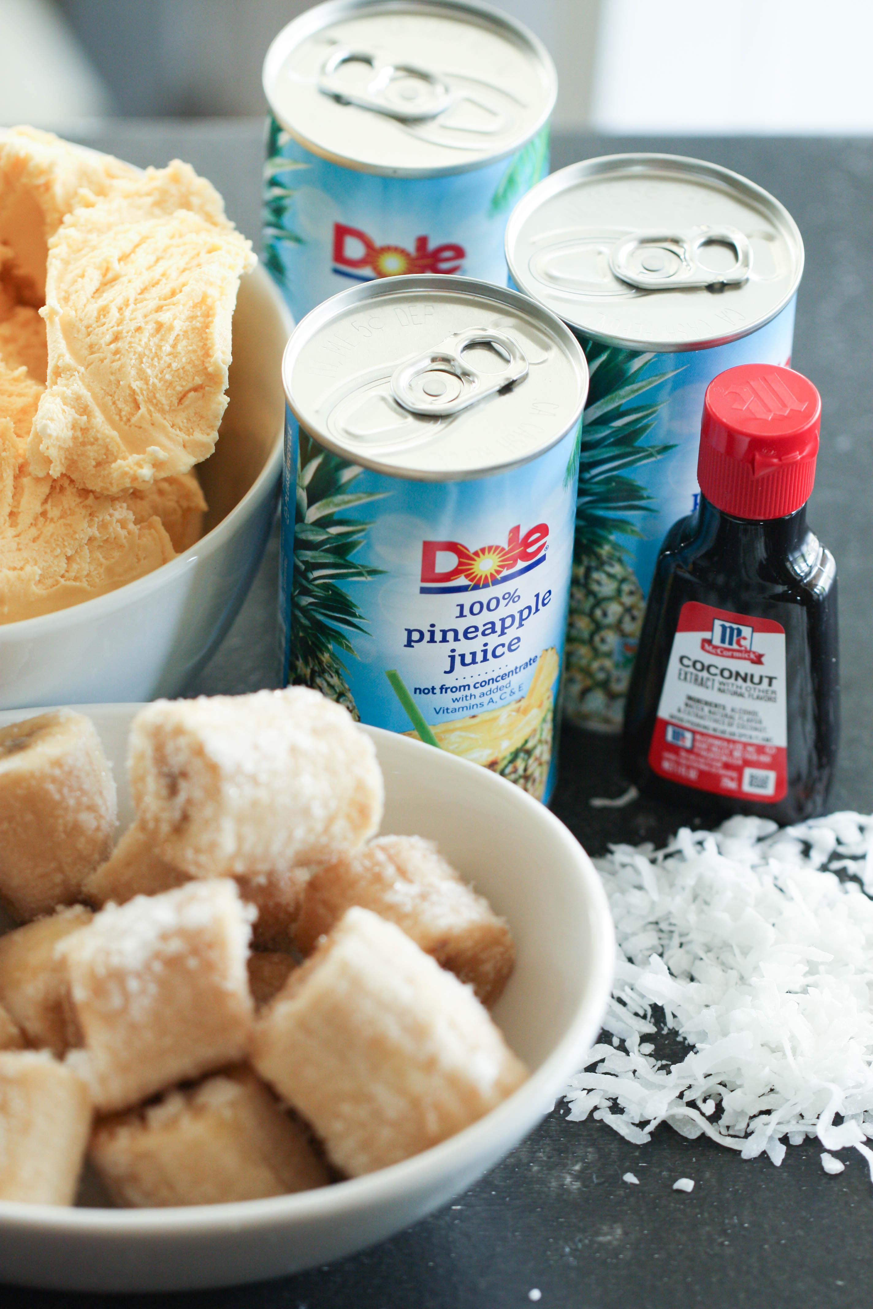 Ingredients for Piña Colada Fruit Smoothie