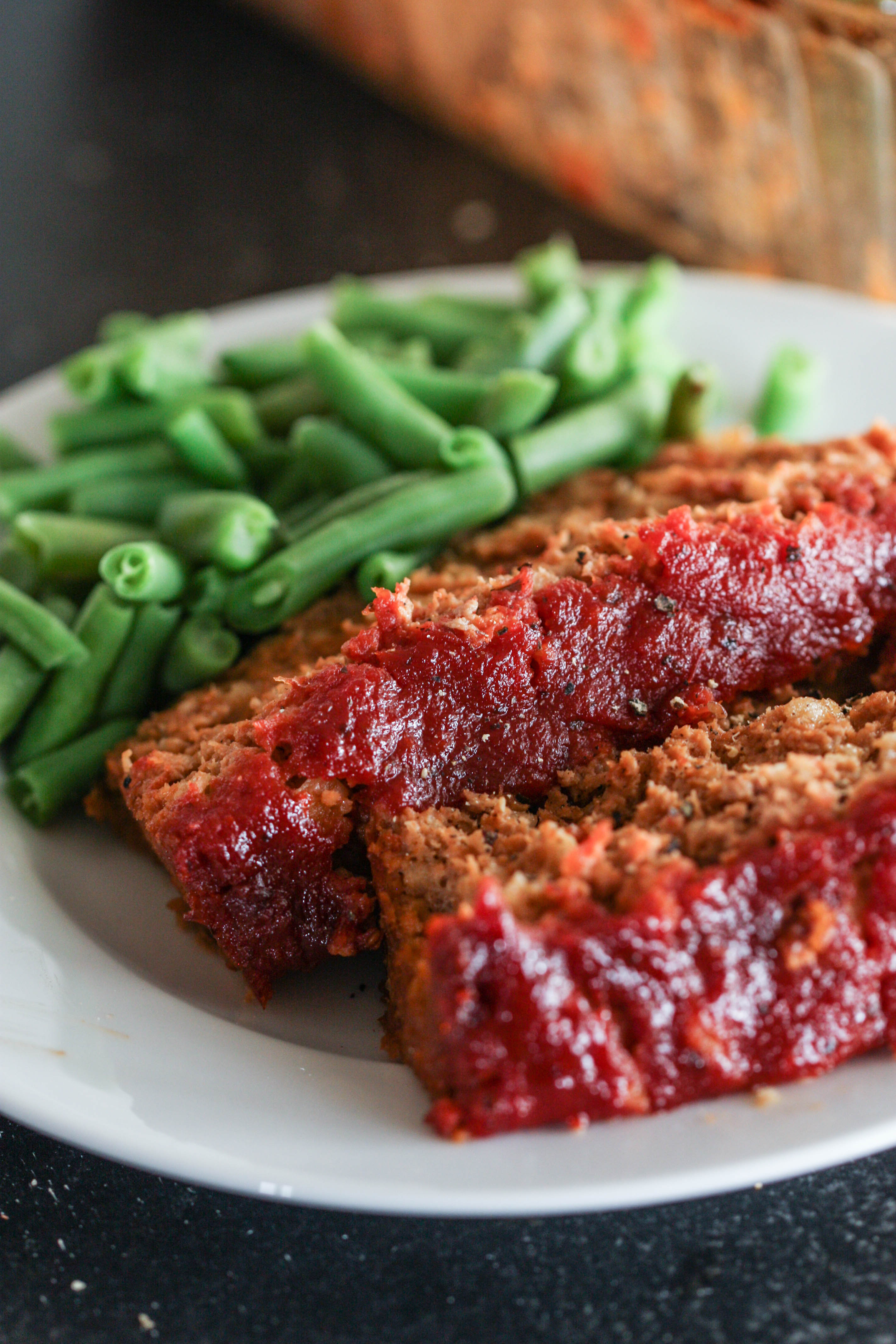 Easy Turkey Meatloaf with green beans on a plate