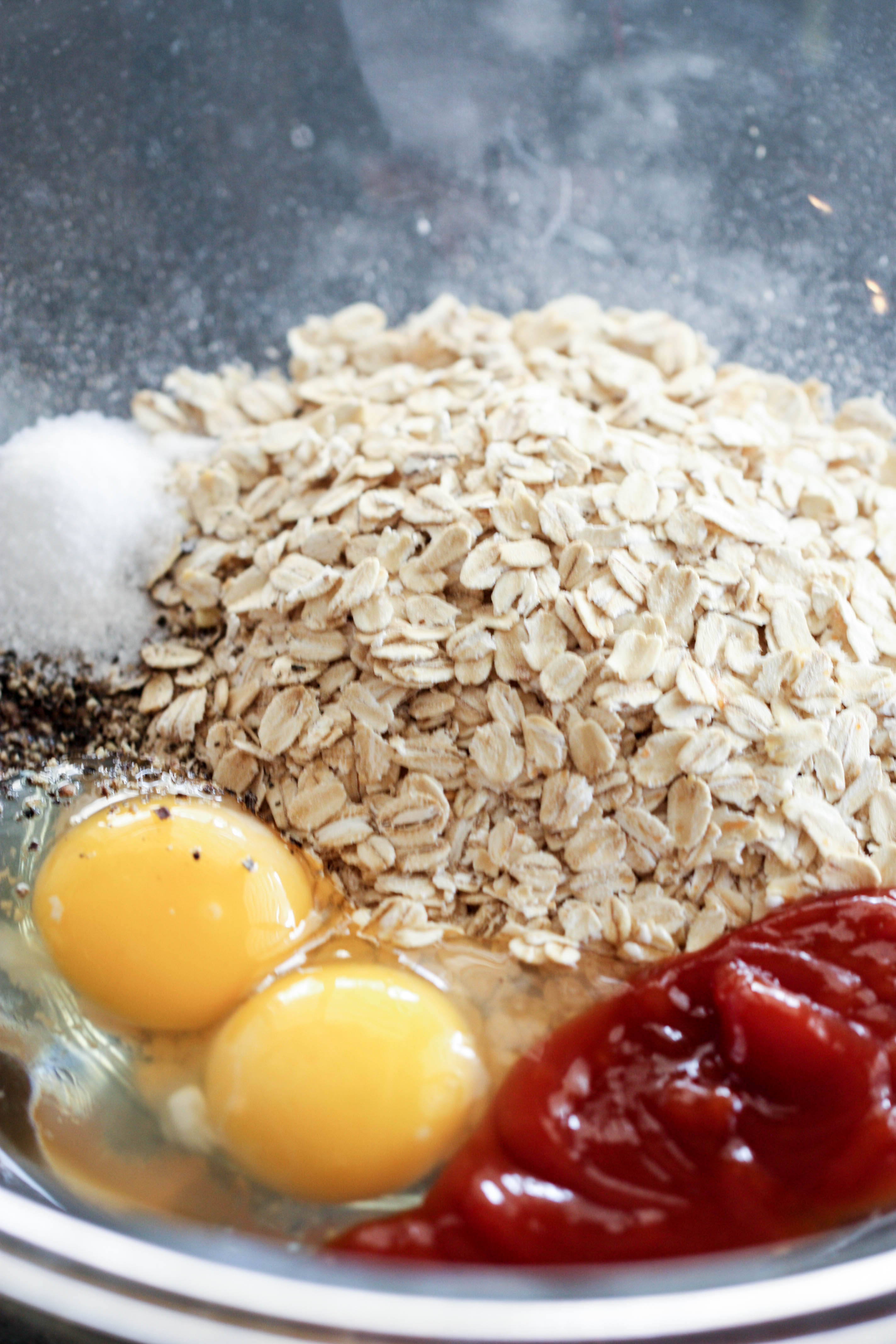 Ingredients for Turkey Meatloaf in mixing bowl