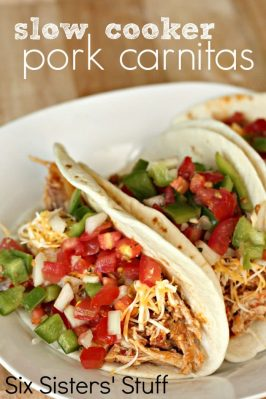 crockpot pork carnitas tacos on plate