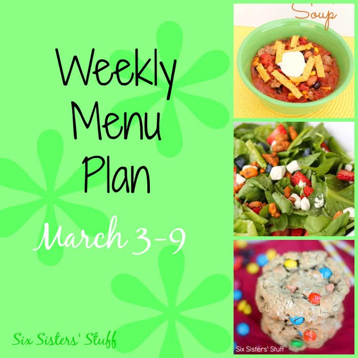 Weekly Menu Plan March 3-9