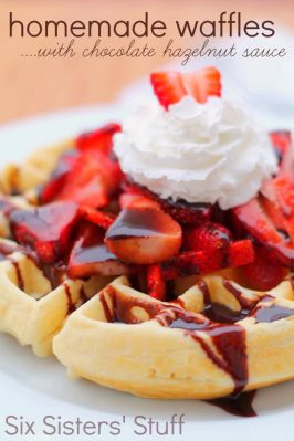 Homemade Waffles with Chocolate Hazelnut Sauce Recipe