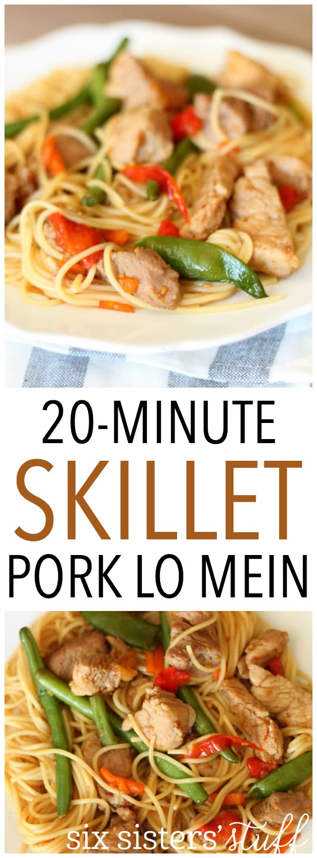 20-Minute Skillet Pork Lo Mein from SixSistersStuff.com. So easy and delicious!jpg