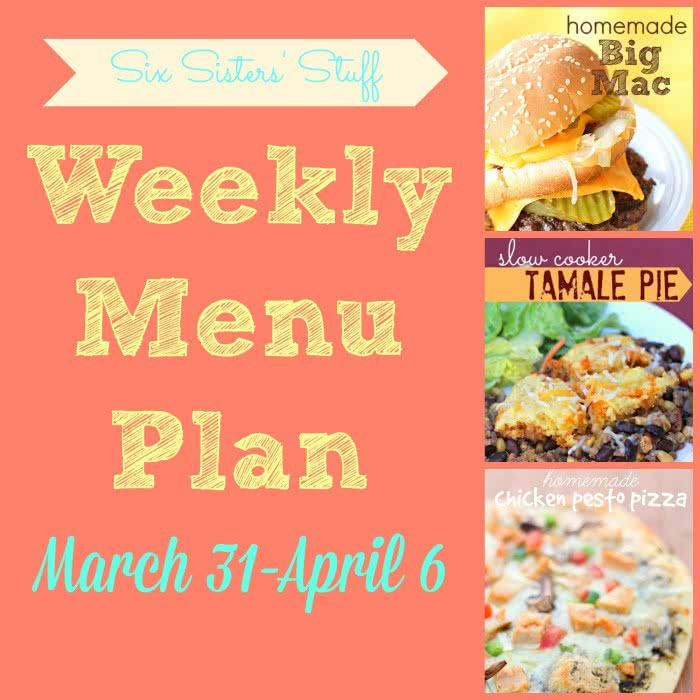 Weekly Menu Plan March 31-April 6
