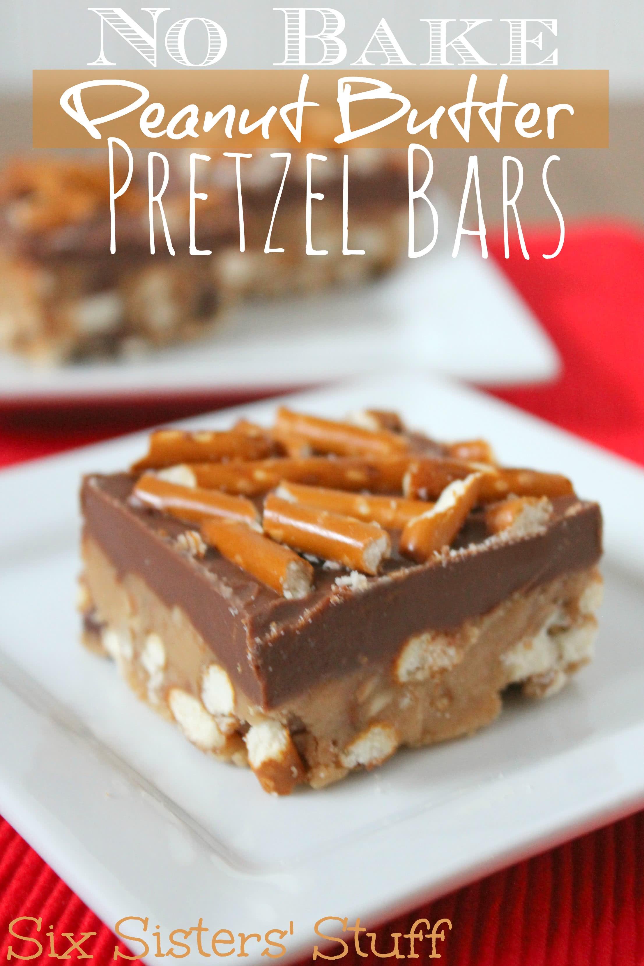No Bake Peanut Butter Pretzel Bars Recipe