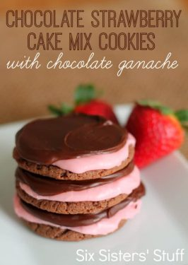 Chocolate Strawberry Cake Mix Cookies with Chocolate Ganache Recipe
