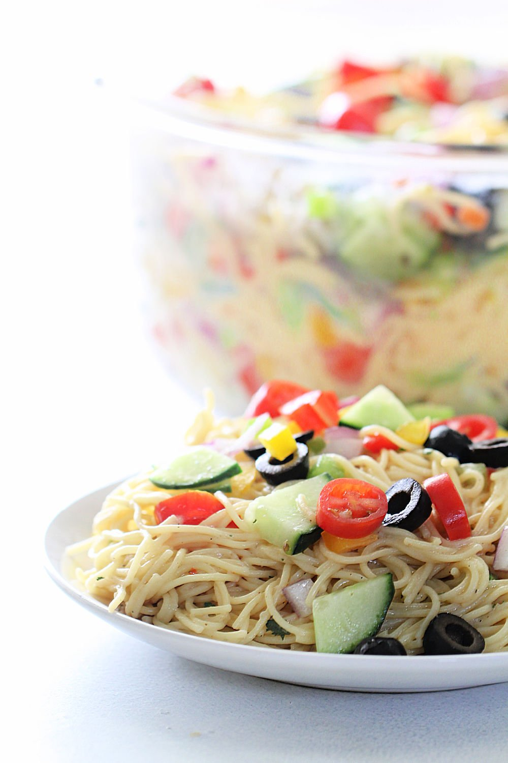 Ranch Pasta Salad Recipe (Easy Side Dish) on a white dish