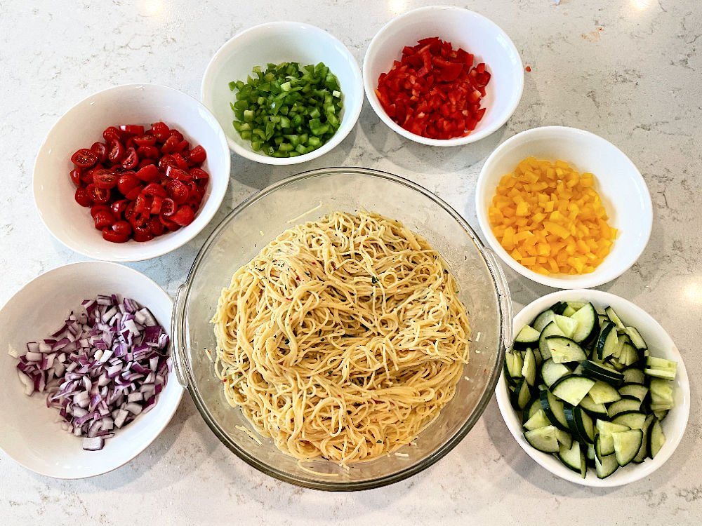 Ingredients for Ranch Pasta Salad
