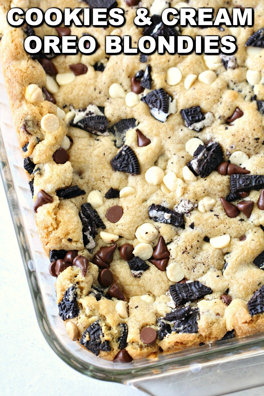 Cookies and Cream Oreo Blondies in glass pan