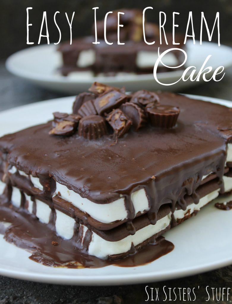 easy ice cream cake on serving dish