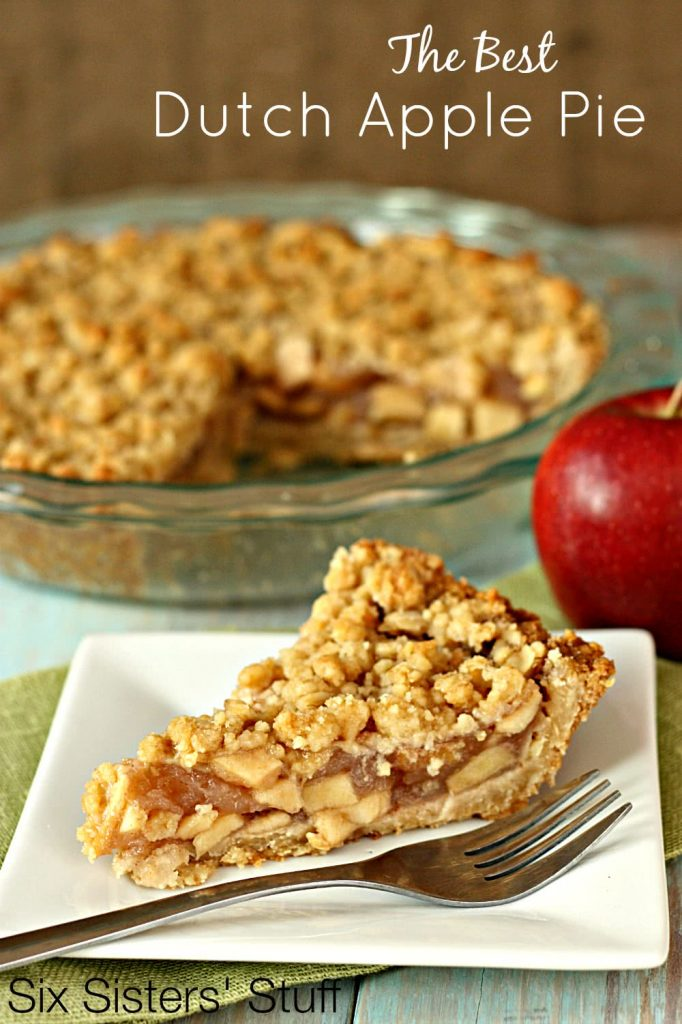 the best Dutch apple pie slice on serving dish