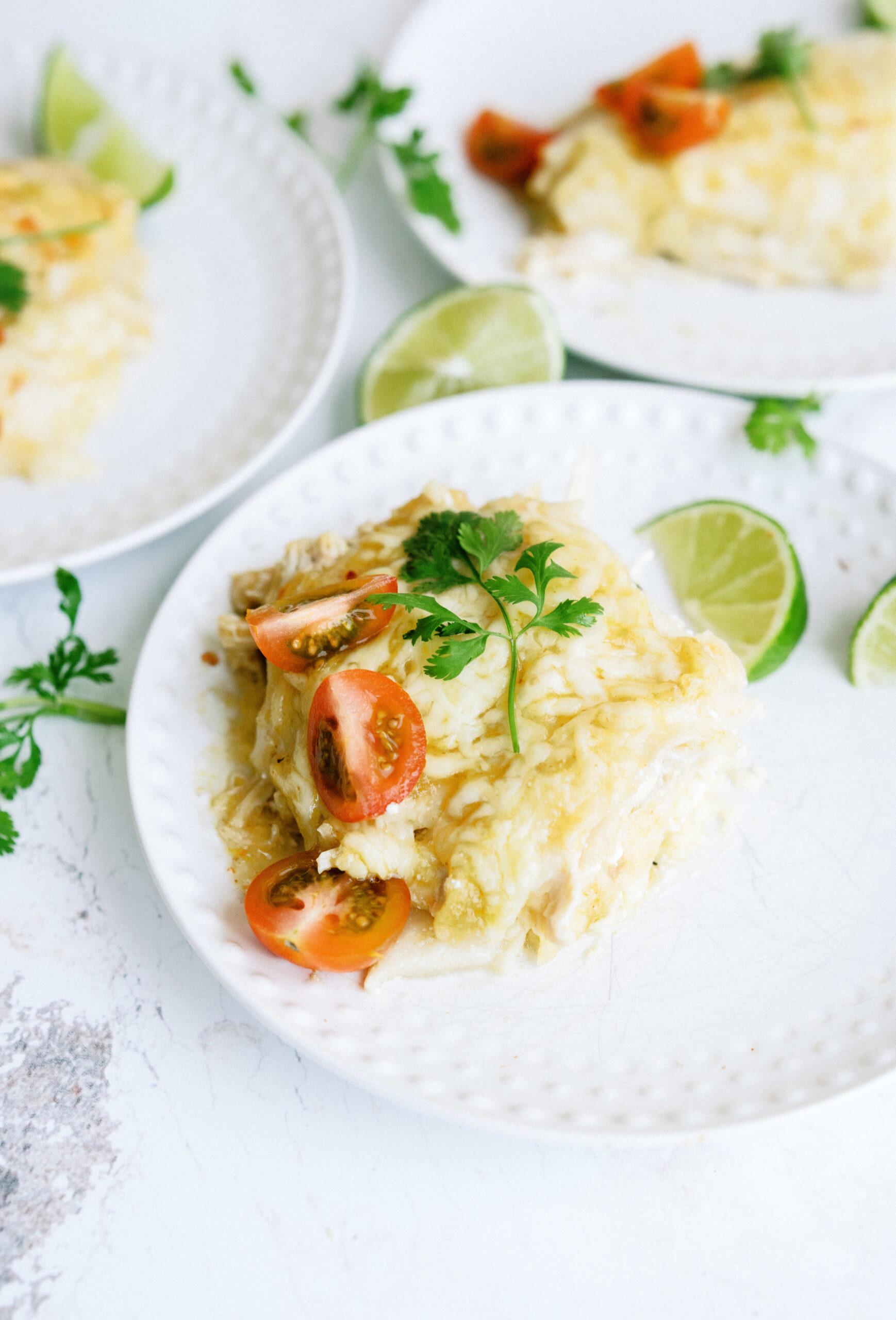 Green Chile Layered Enchilada Casserole Recipe