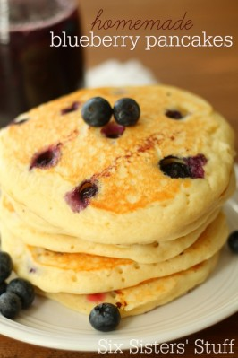 Homemade Fresh Blueberry Pancakes with Blueberry Syrup