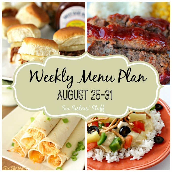 Weekly Menu Plan August 25-31