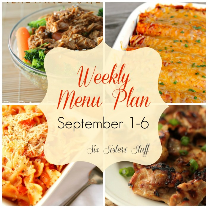 Weekly Menu Plan September 1-6