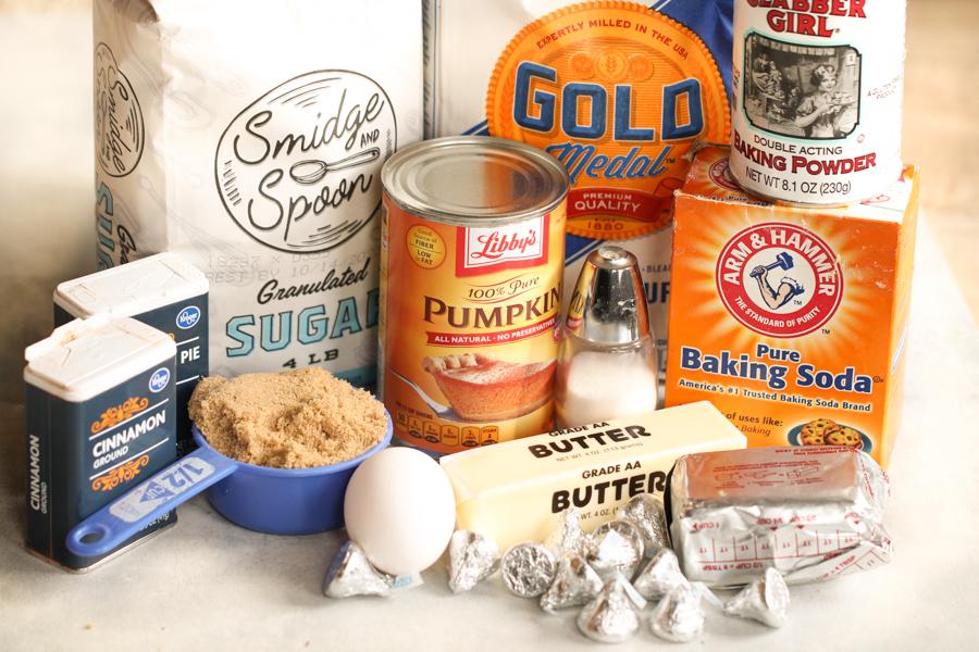 Ingredients for Pumpkin Hershey's Kiss Cookies Recipe
