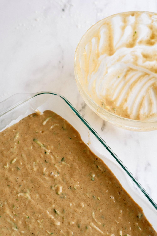 Batter for Cinnamon Zucchini Cake in a 9x13 glass dish