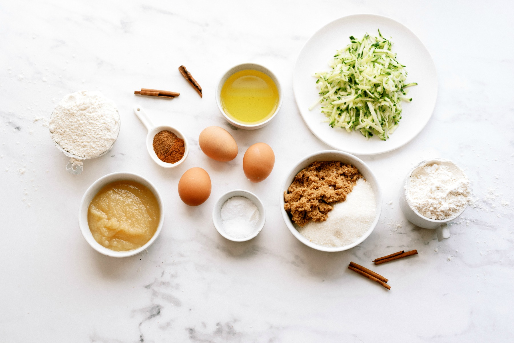 Ingredients for Cinnamon Zucchini Cake with Cream Cheese Frosting