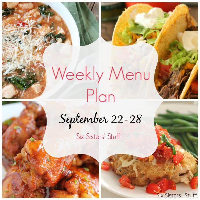Weekly Menu Plan September 22-28