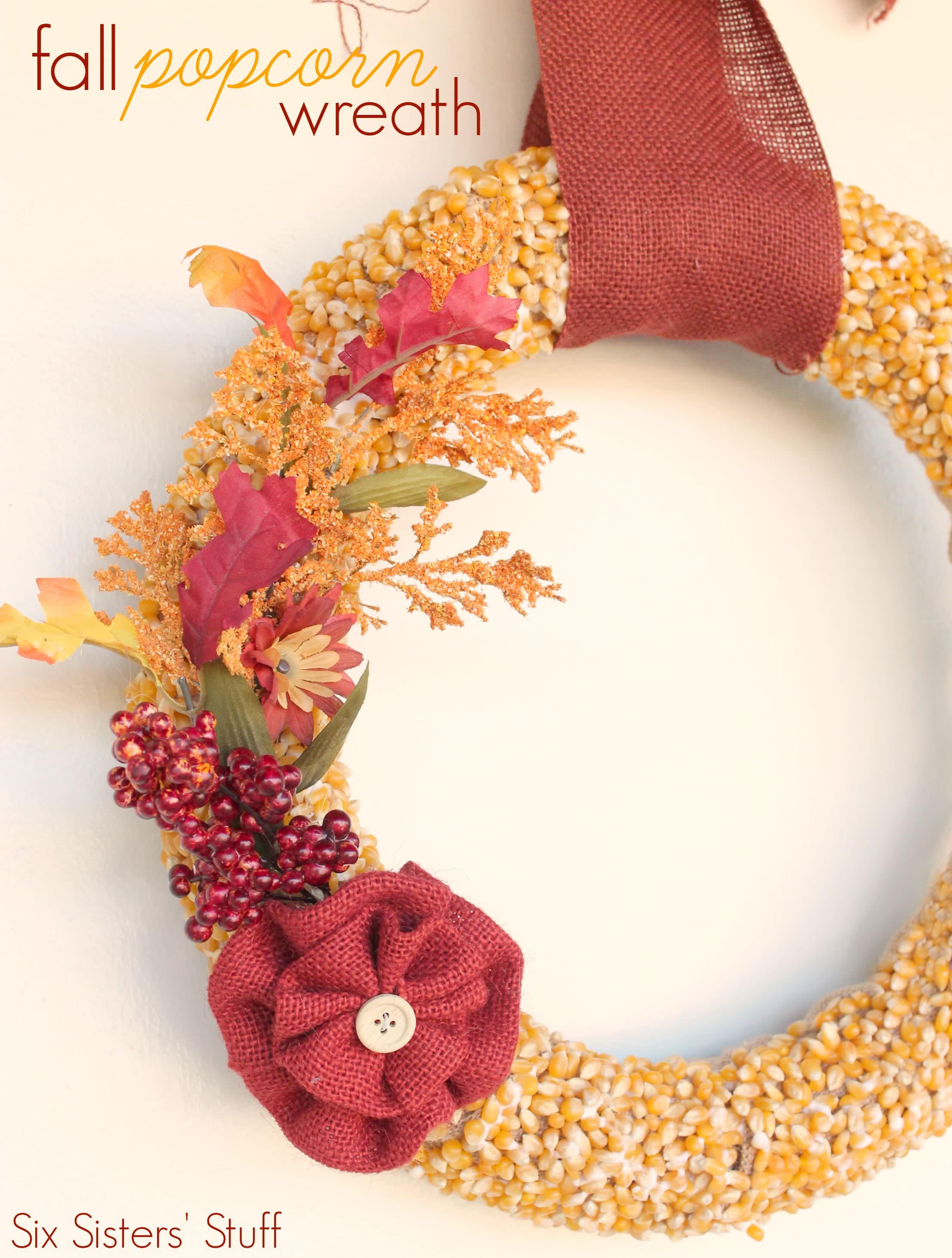 DIY Fall Popcorn Wreath