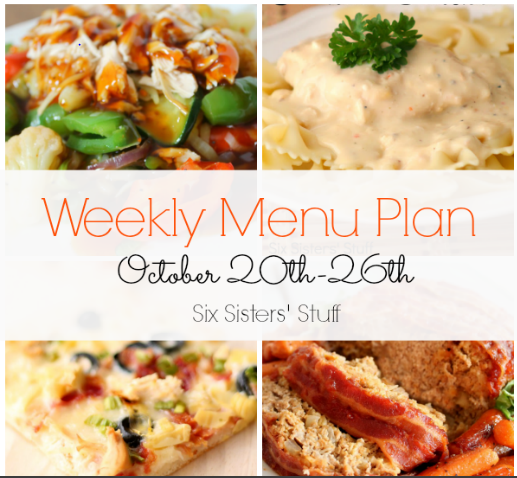 Weekly Menu Plan October 20th-26th