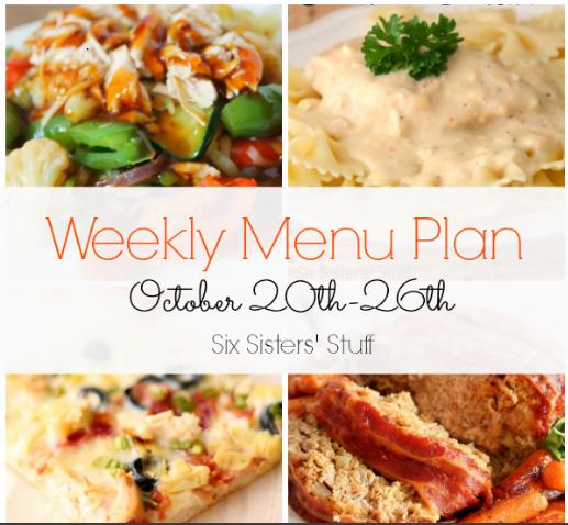 Weekly Menu Plan October 20th-26th