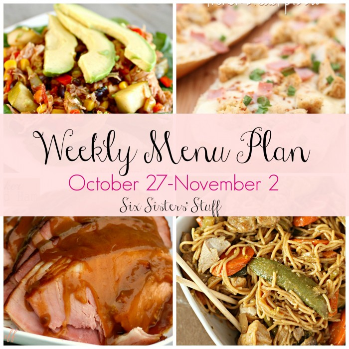 Weekly Menu Plan October 27th – November 2nd