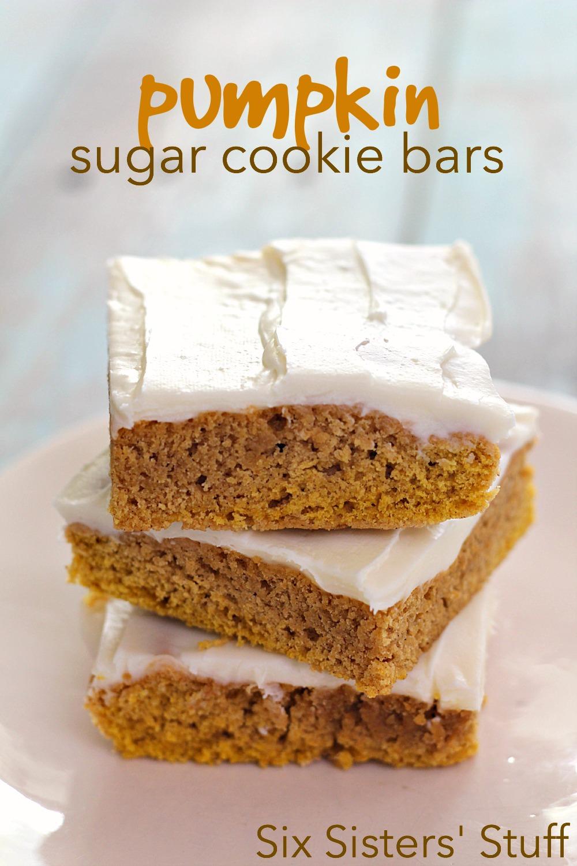 Pumpkin Sugar Cookie Bars Recipe SixSistersStuff