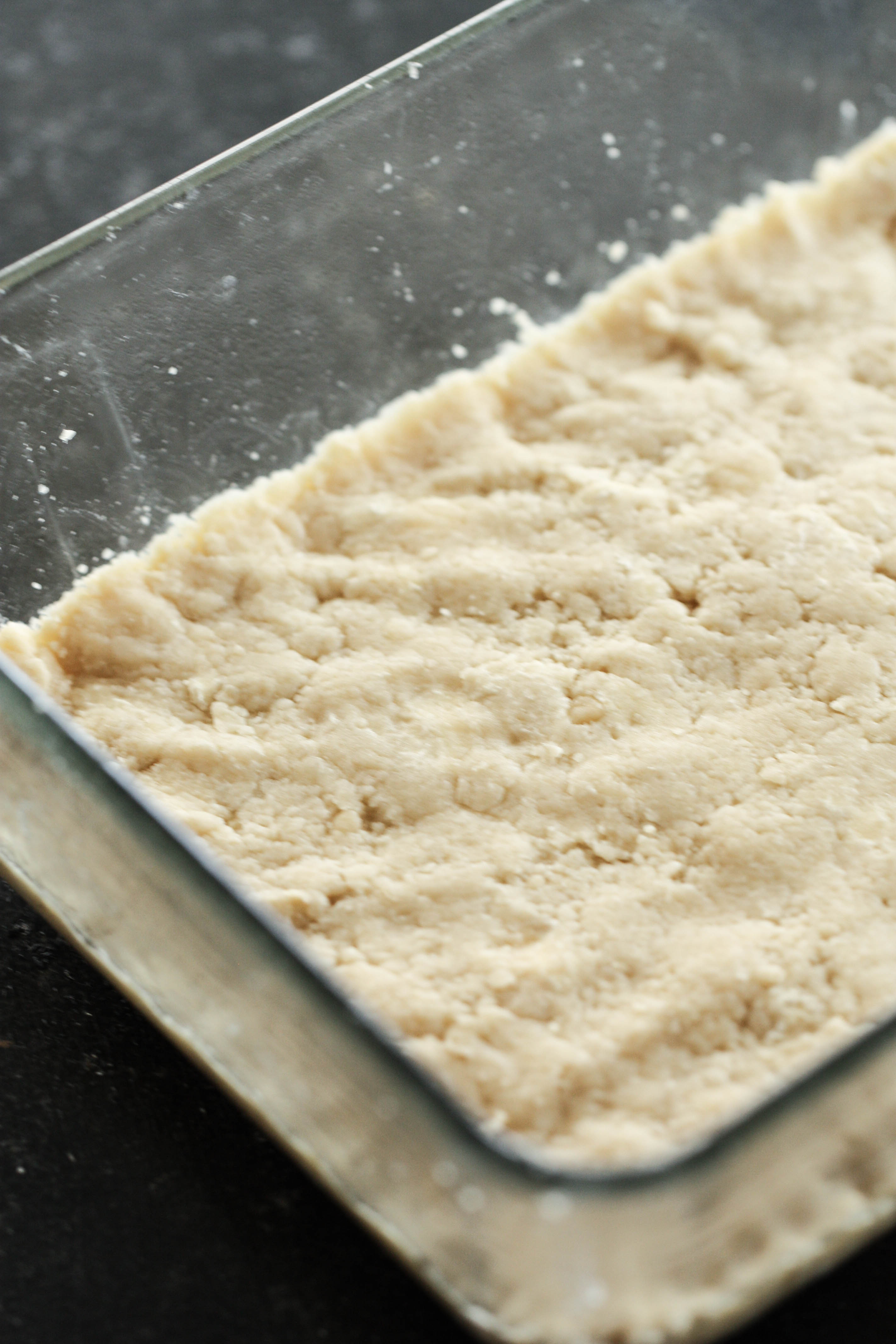 Shortbread crust in glass pan