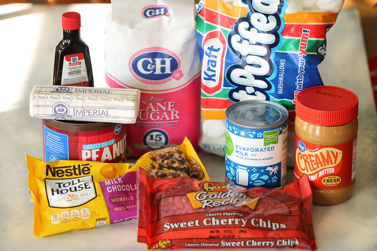 Ingredients needed for cherry bing bars