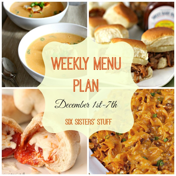 Weekly Menu Plan December 1st-7th