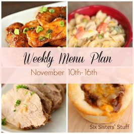 Weekly Menu Plan November 10th-16th