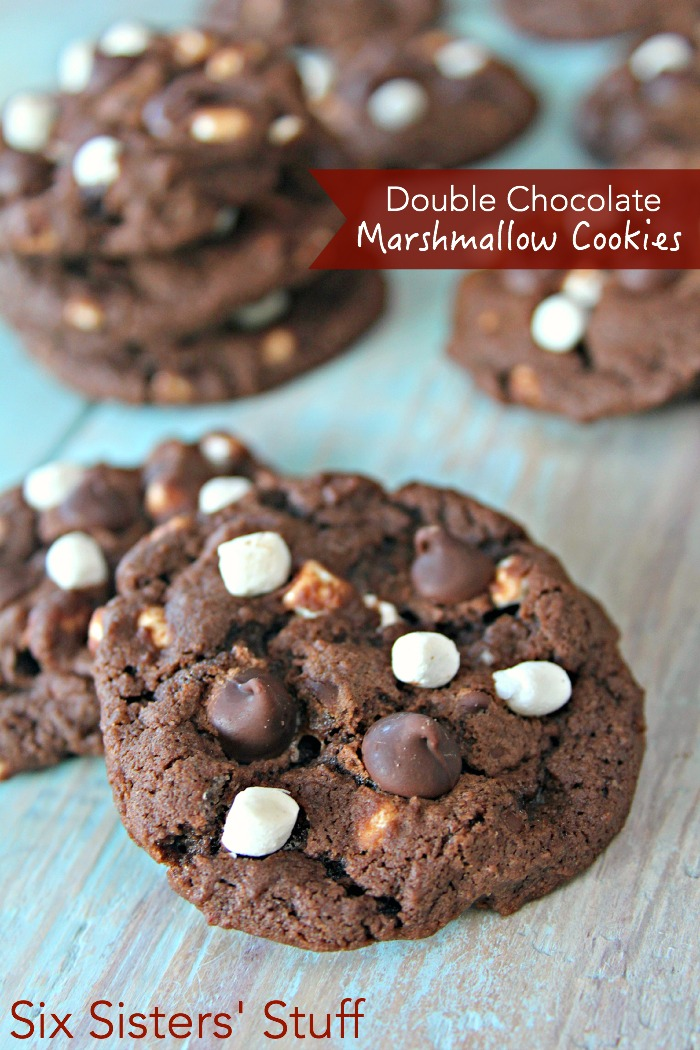 Double Chocolate Marshmallow Cookies on SixSistersStuff
