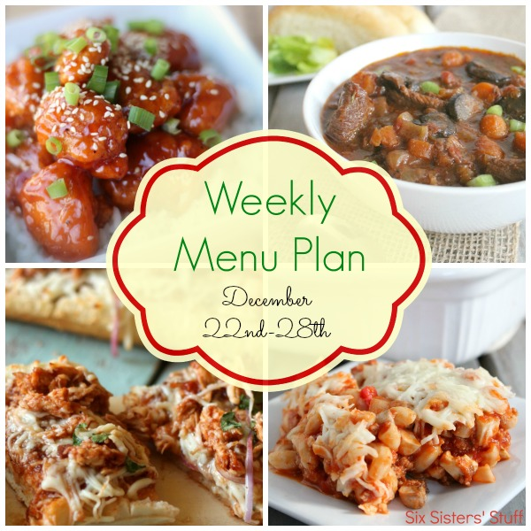 Weekly Menu Plan December 22nd-28th