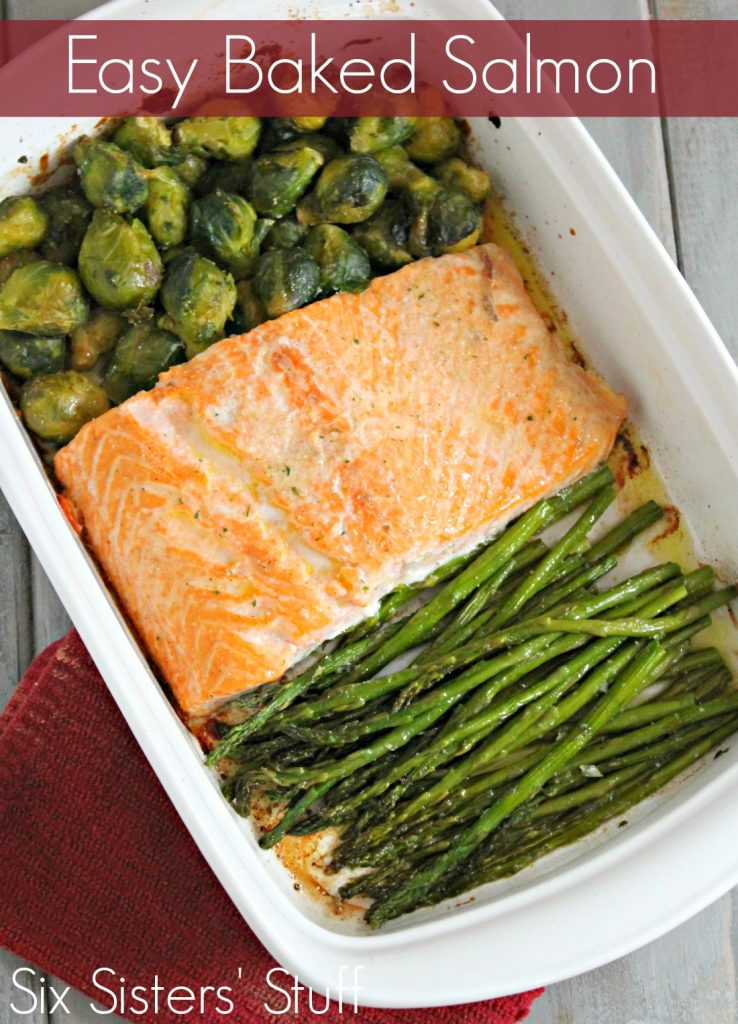 Baked Salmon Filet in dish with asparagus and brussel sprouts