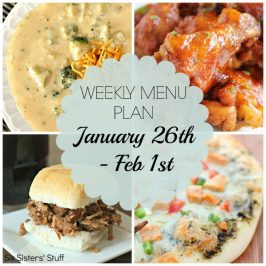 Menu Plan January 26th to February 1st