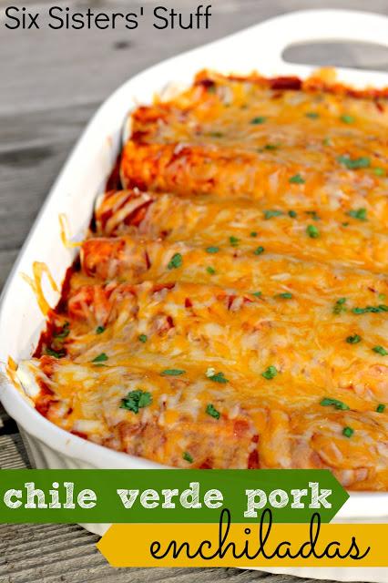 Slow Cooker Chile Verde Pork Enchiladas
