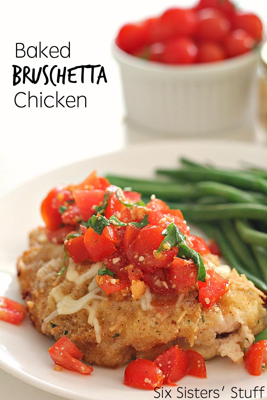 Baked Bruschetta Chicken on a white plate